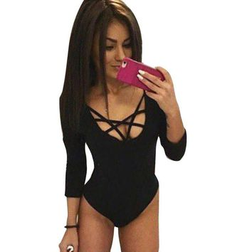 Women Sexy Lace Up One Piece Bodysuit Bodycon Jumpsuit Overalls For Women Rompers Party Slim Jumpsuit  Gray Black White CV3