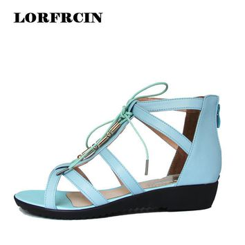 Plus Size 35-43 Women Sandals Summer Style Flat Gladiator Sandals Woman Genuine leathe