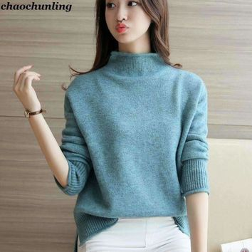 Womens Pullovers High-collar Knitting Sweaters
