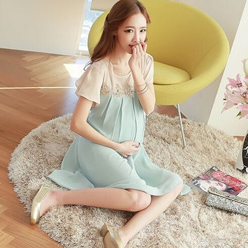 9171 Lace Chiffon Maternity Casual Dress Pregnant Short-Sleeve Clothes for Pregnancy Women's Wear 2014 New Summer Plus Size XL = 1945715780