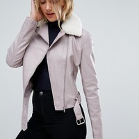 New Look Tall Faux Leather Shearling Collar Biker Jacket at asos.com