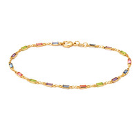 Yellow Gold- Filled Multi- Color CZ Rectangle Anklet