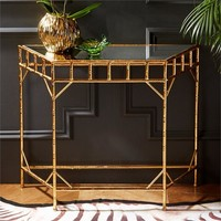 Gold Leaf Glass Wall Consoles - Set of 2