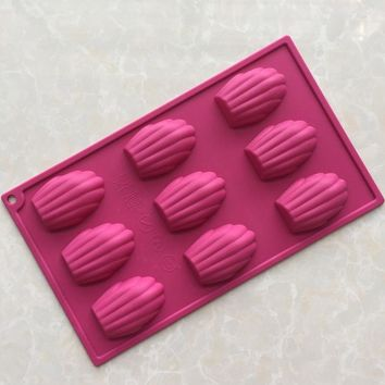 Silicone Mould Madeleine 9 Shell Pan, Cake Mold & Baking Mould, Cookies Candy, random colors, MF139