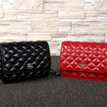 LMFON Chanel' Simple Fashion All-match Quilted Metal Chain Single Shoulder Messenger Bag Women Flip Small Square Bag