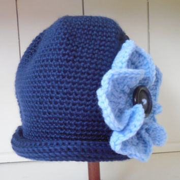 Hand-Crocheted Women's Hat: Navy blue, rolled brim, large light blue flower with button accent