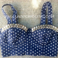 Studded Bustier Bra Top SMALL Denim Polka Dot