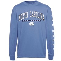 North Carolina Tar Heels (UNC) Mascot Bar Sleeve Long Sleeve T-Shirt - Carolina Blue