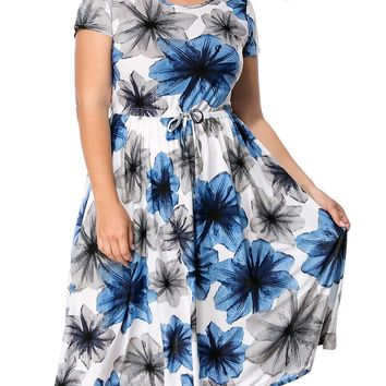 Streetstyle  Casual Round Neck Drawstring Floral Printed Midi Plus Size Flared Dress