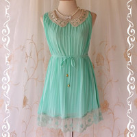 Kiss  Beautiful Pastel Mint Blue Pleated by LovelyMelodyClothing