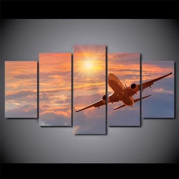 5 Pieces Canvas Art Print Sunset Airplane Poster Sunset Cloud Wall Picture