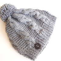 Knitted Hat. Winter Hat. Chunky Hat. Cable Knit. Grey Hat. Pom-pom. Christmas gift.