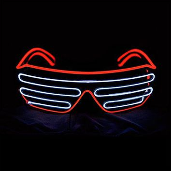Aquat Light Up Shutter LED Neon Rave Glasses El Wire DJ Flashing Sunglasses Glow Costumes