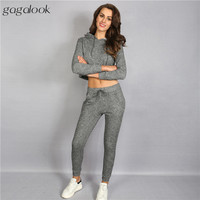Gagalook 2016 Brand Women Tracksuit Track Suit Sweatsuit Set Hooded Long Sleeve Tops and Pants Casual Slim Fit 2 Piece Set S0953