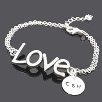 Personalized love bracelet  -  personalized initial - friendship - valentine gift