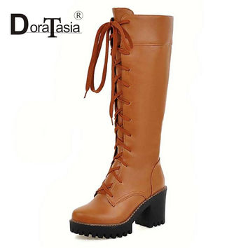 Women Motorcycle Boots Warm Fur Shoes Woman High Heel Outdoor Waterproof Platform Military Cowboy Winter Boots Big size 33-43
