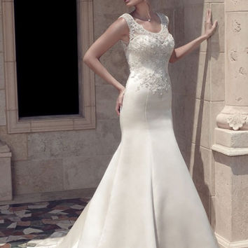 Casablanca Bridal 2141 Beaded Cap Sleeve Satin Fit & Flare Wedding Dress