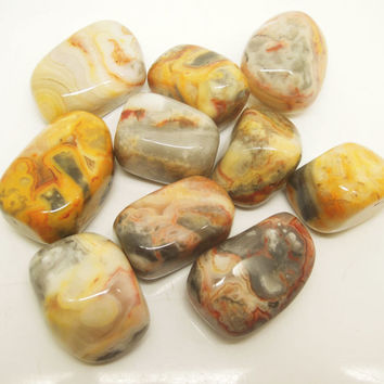 10pcs Polished Healing Crystal Natural Gemstone Yellow Crazy Lace Agate Tumble Stone 20-30mm Education Rock & Mineral Specimen