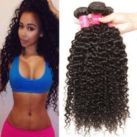 Good Quality Brazilian Curly Hair Weave 3 Bundles 8 10 12Inch Virgin Human Hair Extensions Unprocessed Natural Color 95-100g/pc