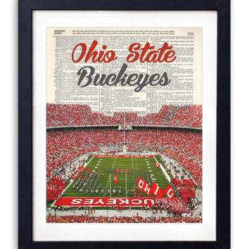 Ohio State Buckeyes Stadium With Name Upcycled Dictionary Art Print Repurposed Book Print Recycled Antique Dictionary Page -Buy 2 Get 1 FREE