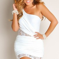 All White Take Me Away Ruched One Shoulder Lace Panel Cut Out Club Dress