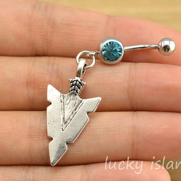 belly ring,belly button jewelry,arrow head belly button rings,arrow navel ring,piercing belly ring,friendship piercing bellyring,bff gift
