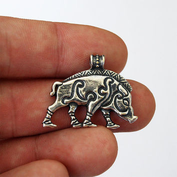 Celtic boar, Celtic wild boar, Wild boar, Boar necklace, Hog pendant, Aper necklace, Boar jewelry, Boar charm, Hog jewelry, Boar jewelry
