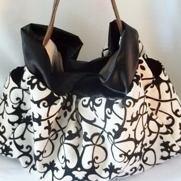 Black and White Large Hobo bag  Fuzzy swirl print hobo by ACAmour