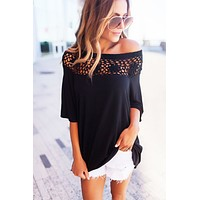 Women Casual Solid Color Hollow Lace Stitching Short Sleeve T-shirt Tops