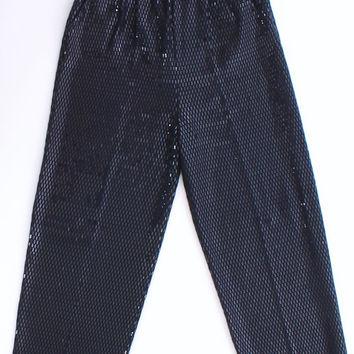 St. John Evening Black Wool Knit Sequined Pants Size 10