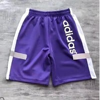 Adidas Summer New Popular Women Men Loose Print Reflective Running Sport Shorts Purple I13442-1