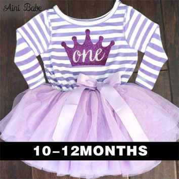 Cute Baby Girl Dress Cotton Children Kids Infant 1st Birthday Party Tutu Dress Girls Clothes For Newborn 0-2Yrs Vestidos Bebes