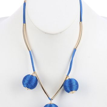Blue Color Cord Wrapped Chunky Ball Charm Bib Necklace
