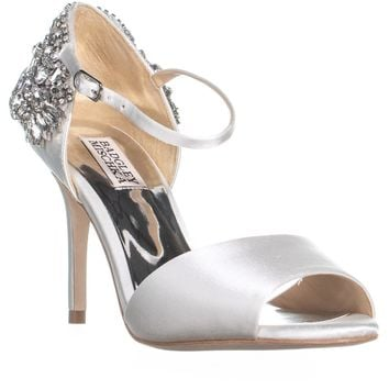 Badgley Mischka Honor Rhinestone Sandals, White, 8 US
