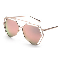 Rose Gold Retro Brand Hollow Out Polygon Sunglasses