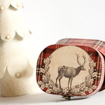 Reindeer Jewelry box, Deer Plaid Tartan Box, Oxblood Treasury Box, Personalized Burgundy box, Gift for him, for her ohtteam