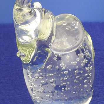Vintage Clear Glass Crystal Elegant Collectible Elephant Figurine Bubbles