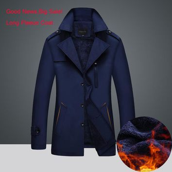 Winter Men Jackets & Coats Leisure Windproof Thick Wool Warm Jacket Men's Long Trench Coat parka Clothing Fleece Coat