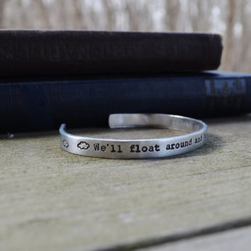 Nirvana Quote Cuff Bracelet - Music - Lyrics - Band - Clouds - Quote - Rustic - Looks Like Silver - Unisex - Under 20 - For Him