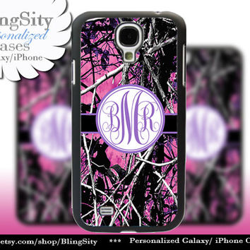 Camo Purple Monogram Galaxy S4 case S5 RealTree Pink Muddy Camo Personalized Samsung Galaxy S3 Case Note 2 3 Cover Country Girl