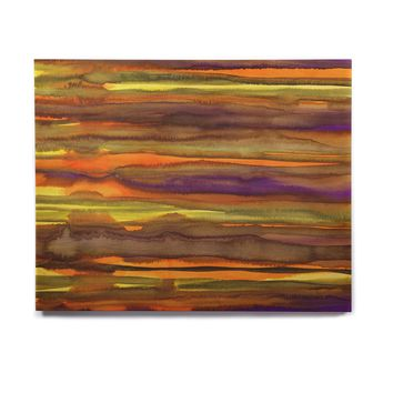 "Miranda Mol ""Tropical Sunset"" Gold Orange Abstract Stripes Watercolor Painting Birchwood Wall Art"