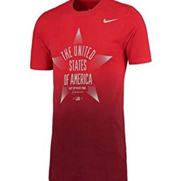 ONETOW Men's Nike Red Team USA Star Verbiage T-Shirt (X-Large, Red)