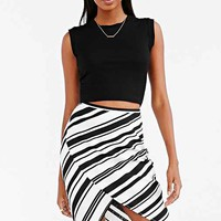 Silence + Noise Crinkle Side-Tie Mini Skirt- Black & White