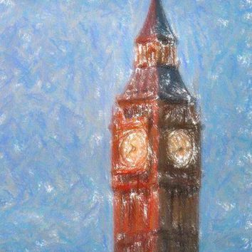 Pastel Painting Of Big Ben Tower In London - Art Print