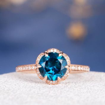 Rose Gold Engagement Ring Unique London Blue Topaz Wedding Women Vintage Floral Antique Diamond Halo Flower Birthstone Anniversary Inspired