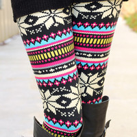 Pink/Blue Nordic Flower Leggings