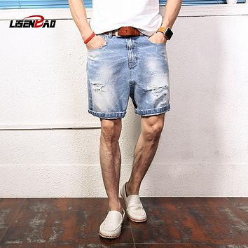 LiSENBAO Mens Denim Shorts 2017 New Summer Regular Casual Knee Length Short Bermuda Masculina Hole Jeans Shorts  Men large size