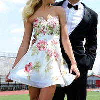 Strapless floral applique dress 92628 - Homecoming Dresses