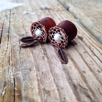 "Bloodwood Dream-Catcher Ear Tunnels Size:1/2""(13mm)&9/16""(14mm)/ Flesh Tunnels/Formal/Wooden Gauges/Dangle Plug Earrings/Hippie/Tribal/Raw"