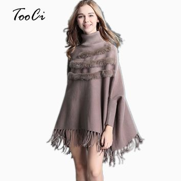 Winter Women High Collar Poncho Real Rabbit Fur Wedding Pullover Bat Sleeve Tassel Cashmere Sweater Cloak Female
